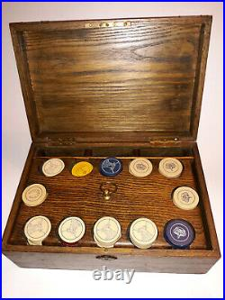 Antique Vintage Poker Chips Set in Wooden Box Clay Poker Chips in Box Heavy RARE