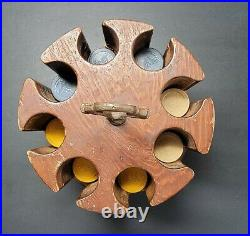 Antique Wooden 8-Slot Saloon Poker Chip Caddy Approx. 200 Clay Chips 3-Mast Ship