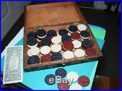 Antique vintage clay chips wooden box poker gambling card box gaming LUCKY BOX