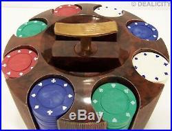 BAKELITE DECO Swirl Poker Chip Caddy Holder Clay Poker Chips 1940s Vintage MINT