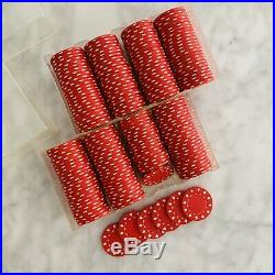Clay Poker Chips Vintage Red 200 in Acrylic Cases Hearts Spades Diamonds Clubs