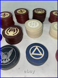 Clay Vintage Poker Chips 109 Total Many Styles 1920s Red Blue Tropical Cards
