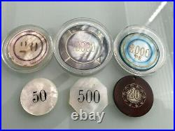 Collection of SIX early Mother of Pearl POKER CHIPS & one CLAY-SILVER POKER CHIP