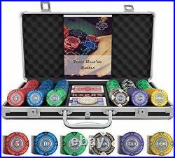Designer Poker Case Tony Deluxe Poker Set with 300 Clay Poker Chips