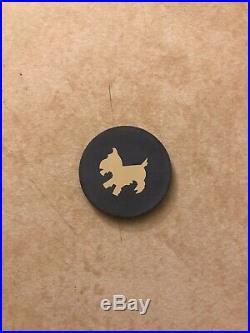 Early 1900s Clay Poker Chip Vintage Rare Scotty Dog Poker Chip Scottish