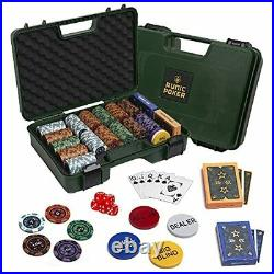 Exclusive Poker Set 300 pcs, 14 Gram Clay Poker Chips for Texas Army Green