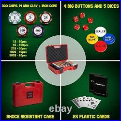 Exclusive Poker Set 300 pcs, 14 Gram Clay Poker Chips for Texas Holdem, Red