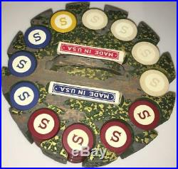 Full Rack 300 Antique 1920's Clay Poker Chips Monogrammed S