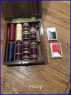 GSH Antique vintage Clay chip wood hard box case poker Gambling box Gaming set