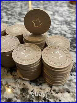 Kardwell Horsehead Right CLAY POKER CHIPS withgold star. Vintage poker chips