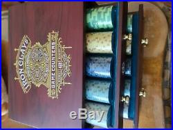 Limited Edition Luxury Iron Clays casino poker chip set 400 chips and wooden box