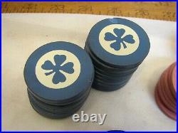Lot 60 Vintage Four Leaf Clover Clay Poker Chips Card Game Red Black Blue