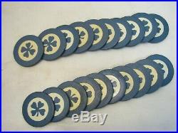Lot 80 Vintage Four Leaf Clover Clay Poker Chips Card Game Red Black Blue