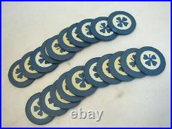Lot 80 Vintage Four Leaf Clover Clay Poker Chips Card Game Red Black Blue Casino