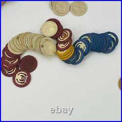 Massive 2000 Vtg & Antique Clay Poker Chip Lot Smooth Elephant Lyre Plane ClubB