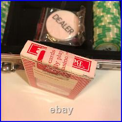Monte Carlo Clay Official Poker Chip Set, Metal Case, 2 Decks MC Cards & Dlr Chip