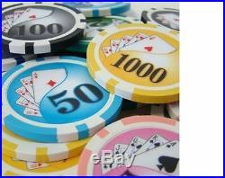 NEW 1000 PC Yin Yang 13.5 Gram Clay Poker Chips Set Acrylic Carrier Case Custom