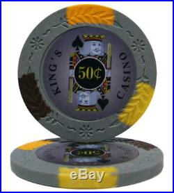 NEW 500 PC King's Casino 14 Gram Pro Clay Poker Chips Set Aluminum Case Custom