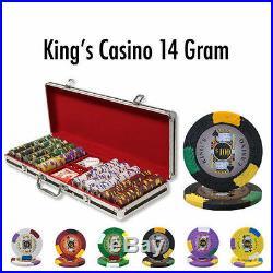 NEW 500 PC King's Casino 14 Gram Pro Clay Poker Chips Set Black Aluminum Case