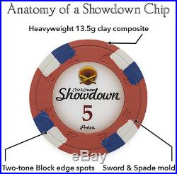 NEW 500 Showdown 13.5 Gram Clay Poker Chips Black Aluminum Case Set Pick Chips