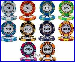NEW 600 Piece Monte Carlo 14 Gram Clay Poker Chips Bulk Lot Pick Your Chips