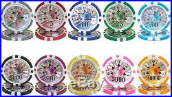 New 1000 Ben Franklin 14g Clay Poker Chips Set with Acrylic Case Pick Chips