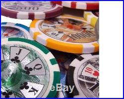 New 1000 Ben Franklin 14g Clay Poker Chips Set with Rolling Case Pick Chips