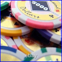 New 1000 Black Diamond 14g Clay Poker Chips Set with Rolling Case Pick Chips