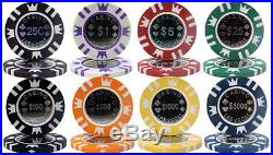 New 1000 Coin Inlay 15g Clay Poker Chips Set with Acrylic Case Pick Chips