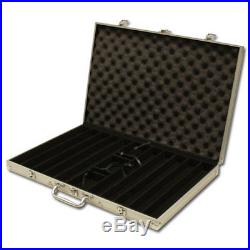 New 1000 Crown & Dice 14g Clay Poker Chips Set with Aluminum Case Pick Chips