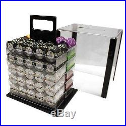 New 1000 Desert Heat 13.5g Clay Poker Chips Set with Acrylic Case Pick Chips
