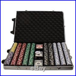 New 1000 Diamond Suited 12.5g Clay Poker Chips Set with Rolling Case Pick Chips