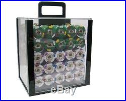 New 1000 Kings Casino 14g Clay Poker Chips Set with Acrylic Case Pick Chips