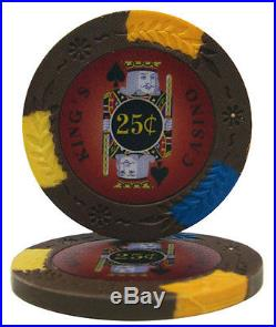 New 1000 Kings Casino 14g Clay Poker Chips Set with Rolling Case Pick Chips