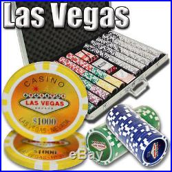 New 1000 Las Vegas 14g Clay Poker Chips Set with Aluminum Case Pick Chips