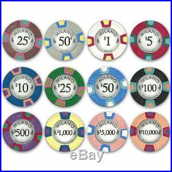 New 1000 Milano 10g Clay Poker Chips Set with Aluminum Case Pick Chips