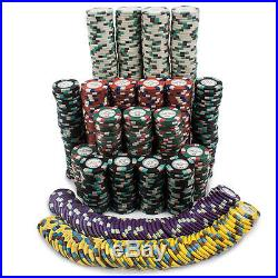 New 1000 Monaco Club 13.5g Clay Poker Chips Set with Rolling Case Pick Chips