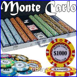 New 1000 Monte Carlo 14g Clay Poker Chips Set with Aluminum Case Pick Chips