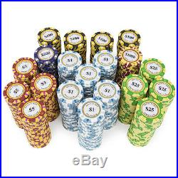 New 1000 Monte Carlo 14g Clay Poker Chips Set with Rolling Case Pick Chips