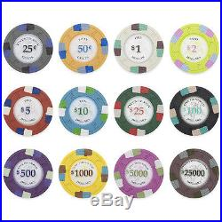 New 1000 Poker Knights 13.5g Clay Poker Chips Set with Acrylic Case Pick Chips