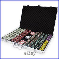 New 1000 Poker Knights 13.5g Clay Poker Chips Set with Aluminum Case Pick Chips