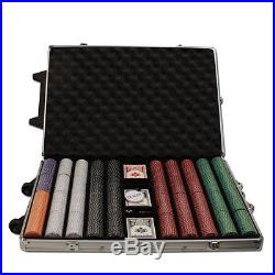 New 1000 Suited 11.5g Clay Poker Chips Set with Rolling Case Pick Chips