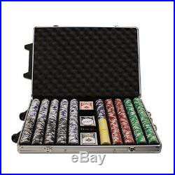 New 1000 Tournament Pro 11.5g Clay Poker Chips Set with Rolling Case Pick Chips