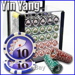 New 1000 Yin Yang 13.5g Clay Poker Chips Set with Acrylic Case Pick Chips