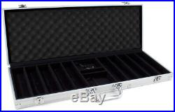 New 500 Black Diamond 14g Clay Poker Chips Set with Aluminum Case Pick Chips