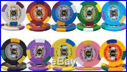 New 500 Kings Casino 14g Clay Poker Chips Set Black Aluminum Case Pick Chips