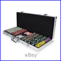 New 500 Poker Knights 13.5g Clay Poker Chips Set with Aluminum Case Pick Chips