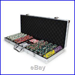 New 500 Showdown 13.5g Clay Poker Chips Set with Aluminum Case Pick Chips