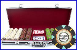 New 500 The Mint 13.5g Clay Poker Chips Set Black Aluminum Case Pick Chips
