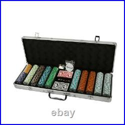 New 500ct. Las Vegas Poker Club 14g Clay Poker Chips Set with Aluminum Case US